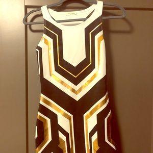 Honey Punch Black/White geometric bodycon dress